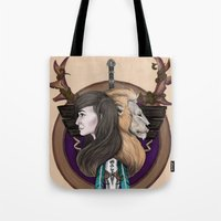 warcraft Tote Bags featuring Lions! Make You Brave by Emily Anne Daugherty
