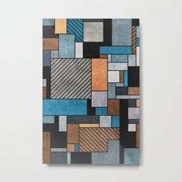 Random Concrete Pattern - Blue, Grey, Brown Metal Print
