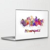 minneapolis Laptop & iPad Skins featuring Minneapolis skyline in watercolor by Paulrommer