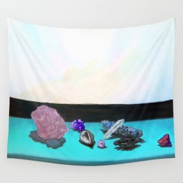 Sunlit Crystals with Sage Wall Tapestry