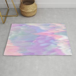 Abstract pink lavender teal ikat brushstrokes Rug