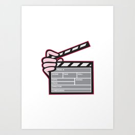 Movie Clapboard Hand Cartoon Art Print