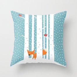 Fox in snow Throw Pillow