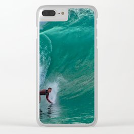 Surfing Double Overhead at the Wedge Clear iPhone Case