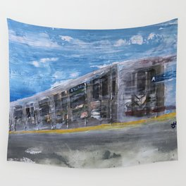 Moving A Train on NYC MTA Platform Wall Tapestry