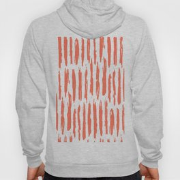 Vertical Dash Deep Coral on White Hoody