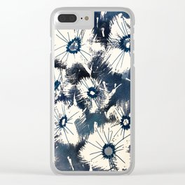 Indigo Floral Clear iPhone Case