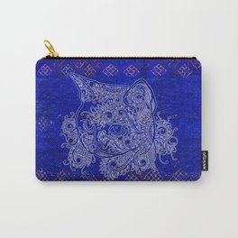 N20 - Tribal Cute Cat Hand Drawing, Traditonal Moroccan Carpet Background Carry-All Pouch
