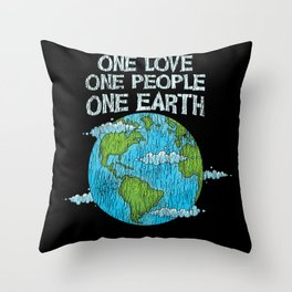 One Love One People Planet Climat Change Earth Day Throw Pillow