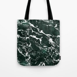 Dark green forest watercolor white marble christmas pattern Tote Bag
