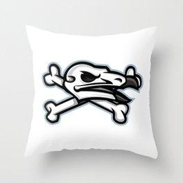 Vulture Skull Mascot Throw Pillow