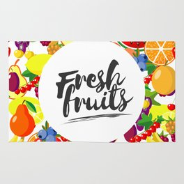 Fresh fruits. Background with juicy ripe fruit and berries , round composition, lettering. Rug