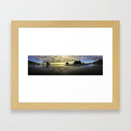 New Zealand Sunset Motukiekie Beach  West Coast Framed Art Print
