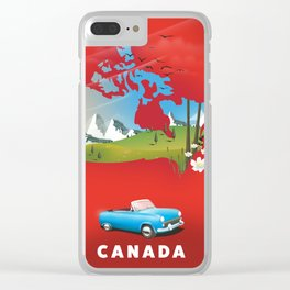Canada illustrated travel poster. Clear iPhone Case