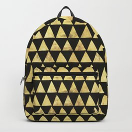 Golden triangles on black ink Backpack