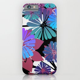Colorful Flower Blossoms blue pink  iPhone Case