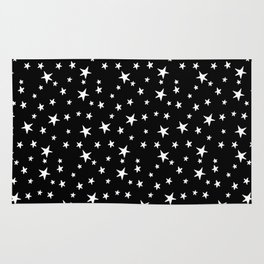 Mini Stars - White on Black Rug