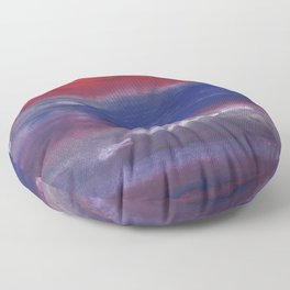 Red Blue nebulous watercolor Floor Pillow