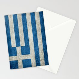 Greek flag in retro grunge Stationery Cards