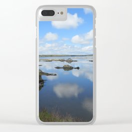 PUFFY CLOUD REFLECTIONS ON WATER AND ROCKS Clear iPhone Case