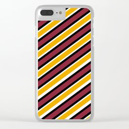 TEAM COLORS 1…Maroon Gold black and white diagonal stripe Clear iPhone Case