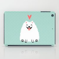 pomeranian iPad Cases featuring Fluffy White Pomeranian with Heart by Jenn Inashvili