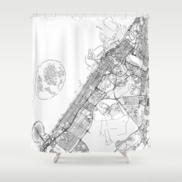 Dubai White Map Shower Curtain