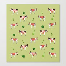 donkeys and cactuses Canvas Print