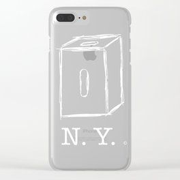 New York apple box (white) Clear iPhone Case