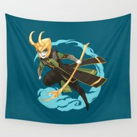 loki Wall Tapestries featuring Minivengers - Loki by Irene Flores