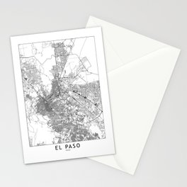 El Paso White Map Stationery Cards