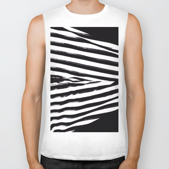 Black & White Stripes Biker Tank