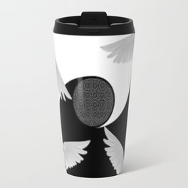 B&W  YIN & YANG Taoism/Daoism PEACE DOVES Travel Mug