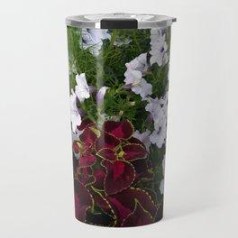 Burgundy & White Flowers 001 Travel Mug