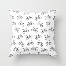 Sketchy Black and White Bicycle Bike Throw Pillow