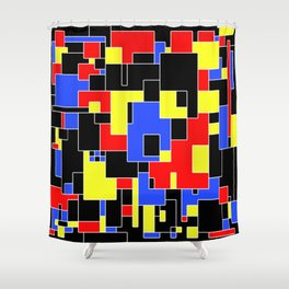 Primary Plans - Abstract, geometric map in primary colours Shower Curtain