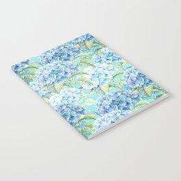 Blue floral hydrangea flower flowers Vintage watercolor pattern Notebook