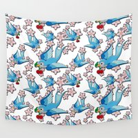 swallow Wall Tapestries featuring Blue Swallow Pattern by Jelly Roger
