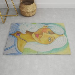 Girl with Green Eyes and Purple Necklace Rug