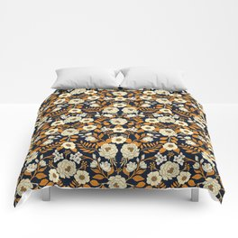 Navy Blue, Orange, Cream, Gold & White Floral Pattern Comforters