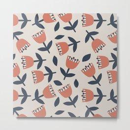 Red Flowers / Seamless Pattern Metal Print