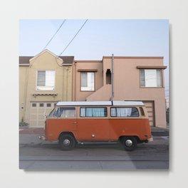 Vanlife San Francisco Bus Photography, Sunset District Houses, California Vibes Art, Orange Van Art Metal Print