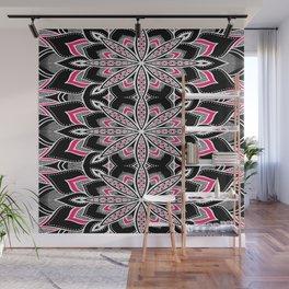 Black White Pink Flower Panel Art Wall Mural