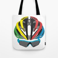 cycling Tote Bags featuring Cycling Face by Pedlin