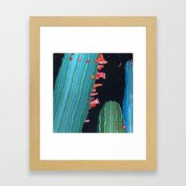 Midnight Cactus Conversations Framed Art Print