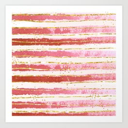 Pink And Gold Stripes Art Print