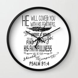 Psalm 91:4 Christian Bible Verse Typography Design Wall Clock