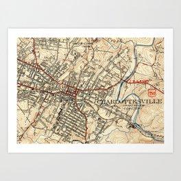 Vintage Map of Charlottesville Virginia (1949) Art Print