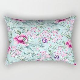 Floral Pattern Mint Rectangular Pillow