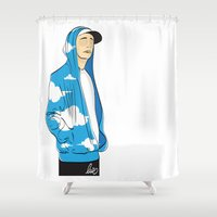 rap Shower Curtains featuring Rap in the sky by LuiSegni